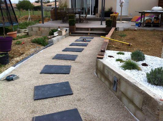 terrasse gravier blanc