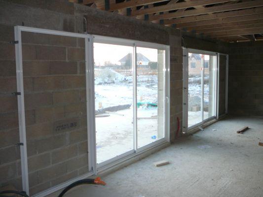 Baie vitre Schuco galandage vantail, rail, pose en applique