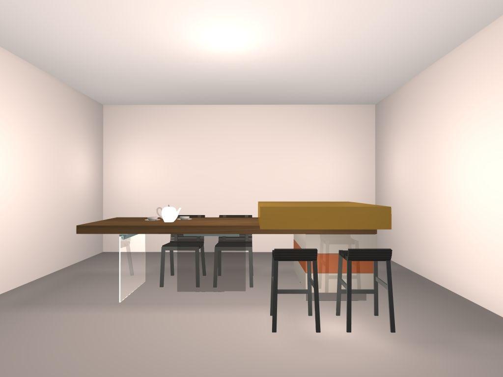 Ilot central+table  hauteur plan de travail ou table 74cm