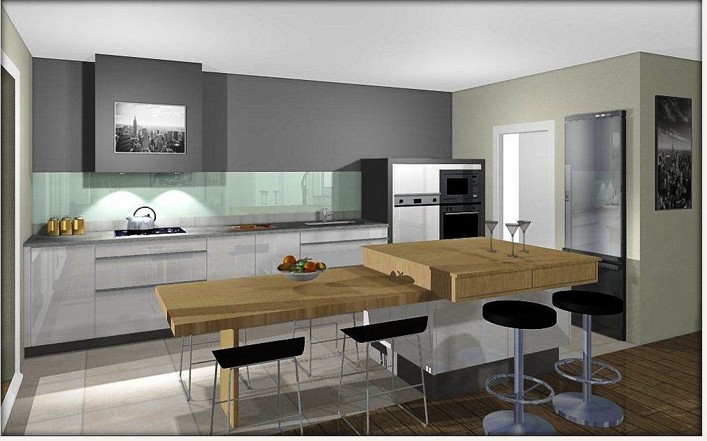 cuisine moderne ilot central table avec des id es int ressantes pour la. Black Bedroom Furniture Sets. Home Design Ideas