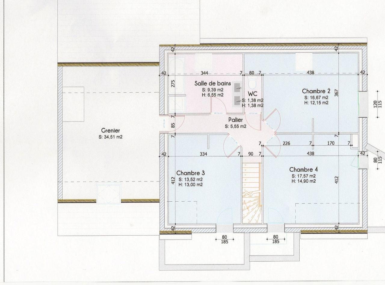 plan de l'étage (le grenier sera fait mais pas avant un quelques années)