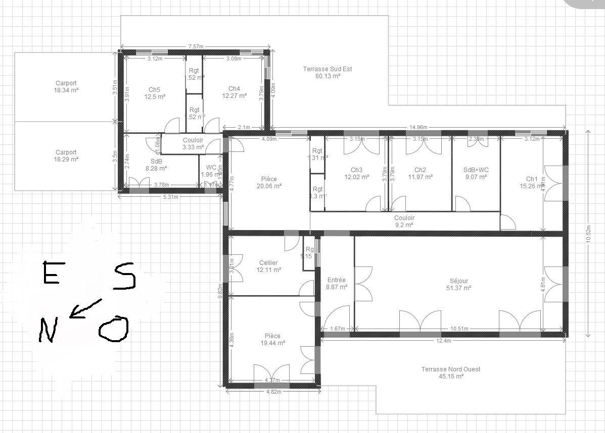 Great plan avec extension with plan maison 100m for Plan maison 100m