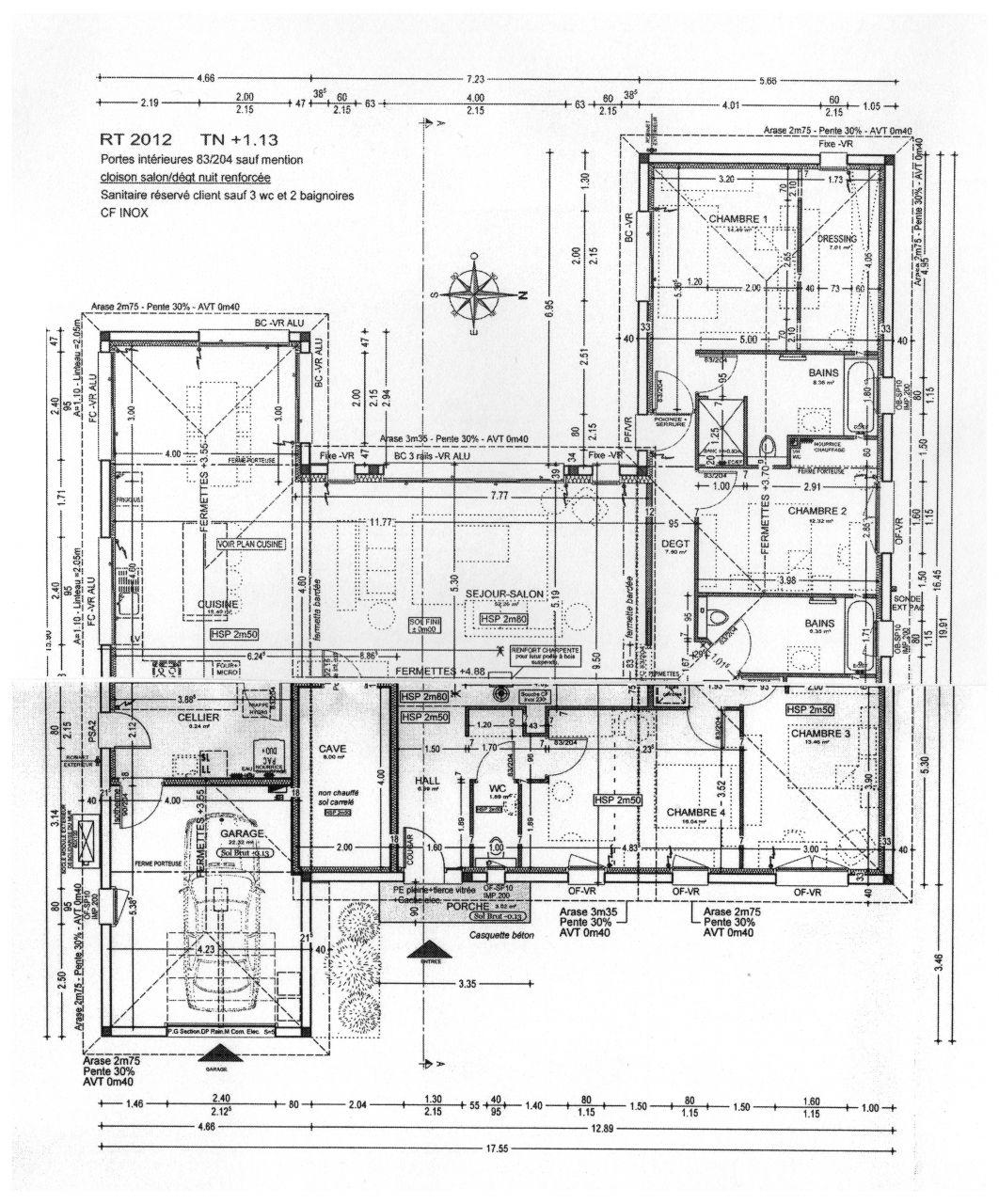 """Plan de la maison (désolé, photo un peu """"bricolée"""" au centre pour que le tout rentre dans une seule image!!)"""