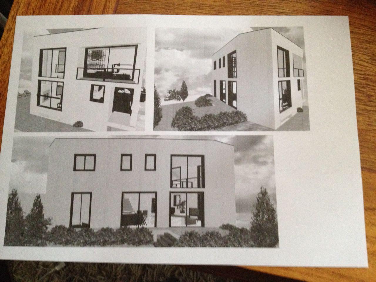 1ère esquisse personnelle de l'allure générale de la maison (les couleurs des façades ne sont pas définies, et l'environnement n'est pas figuré).