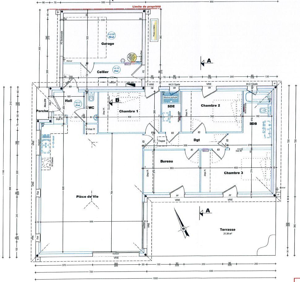 Le schéma dimplantation pour bien visualiser la position de la maison et le terrain restant