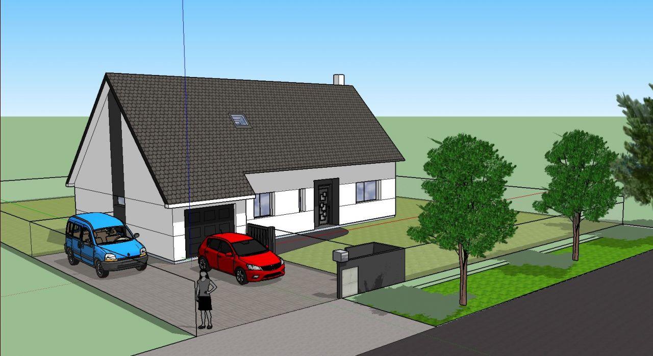 Une vue de la maison fait avec Sketchup <br /> (l'aménagement intérieur en 3D devrait suivre ...)