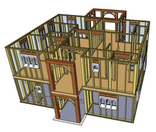 agrandissement ossature bois entre deux maison. Black Bedroom Furniture Sets. Home Design Ideas