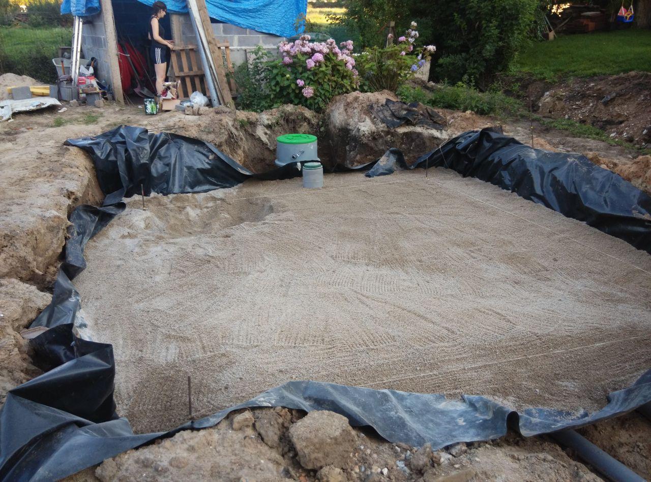 70 cm de sable 0.60 au dessus de la premiere rangée de drains