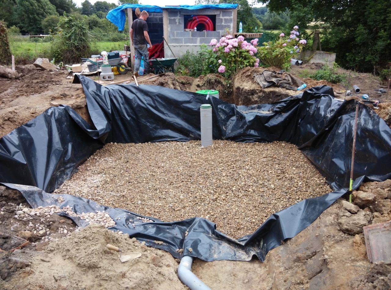 les drains du fond sont recouverts de gravier 10-40
