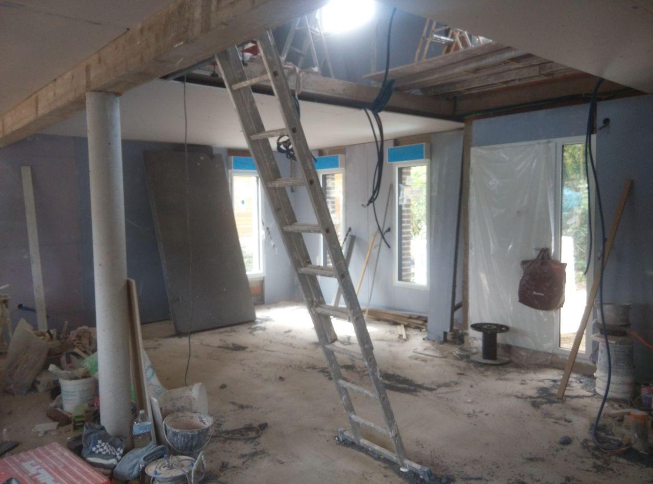 Pose de l'isolation des murs exterieurs