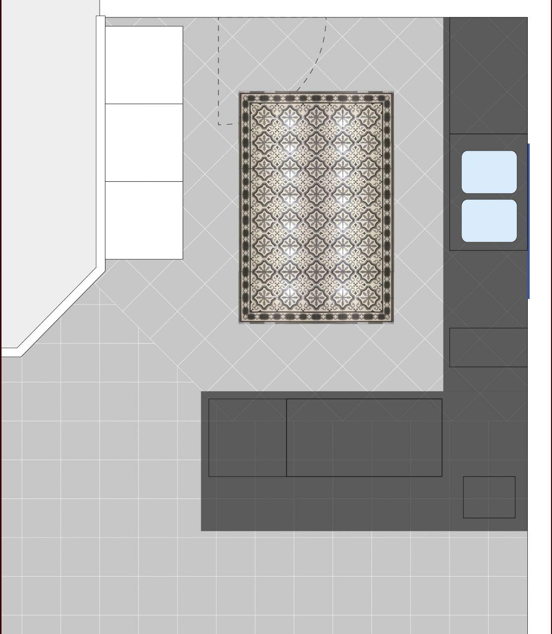 Positionnement du tapis de carrelage de la cuisine.