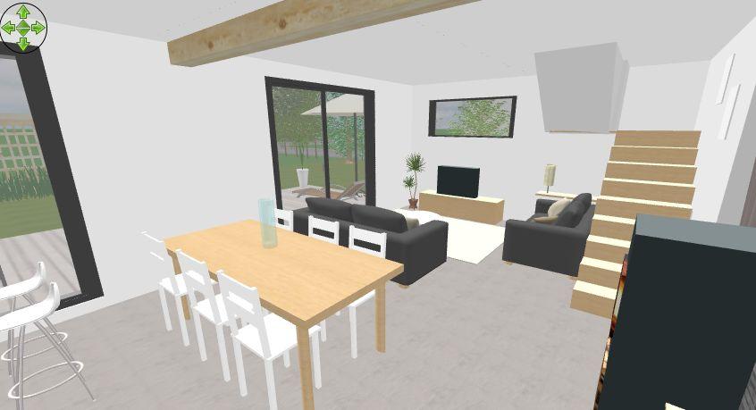 Intérieur côté salon/salle à manger