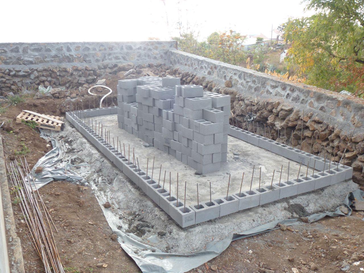élévation des murs de la piscine