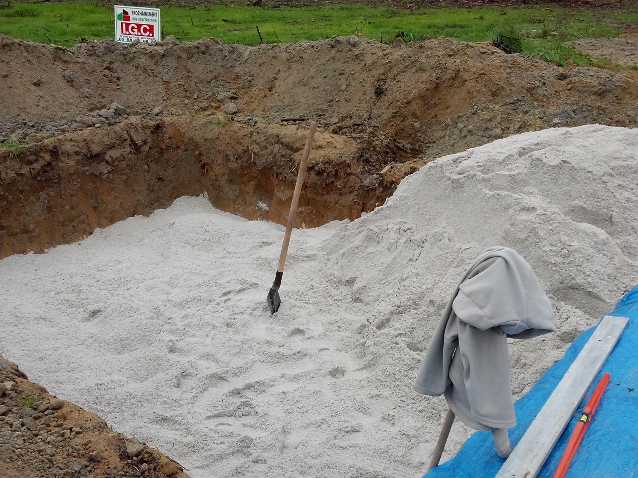 travaux d'assainissement, filtre à sable