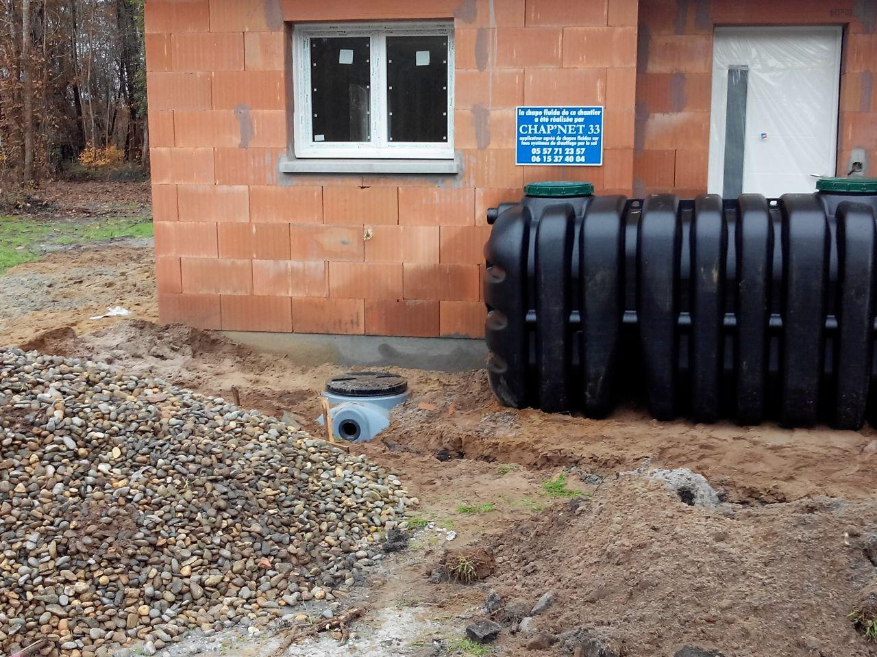 travaux d'assainissement, fosse septique et bac à graisse