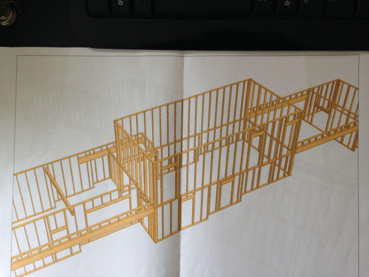 Plan ossature bois côté sud