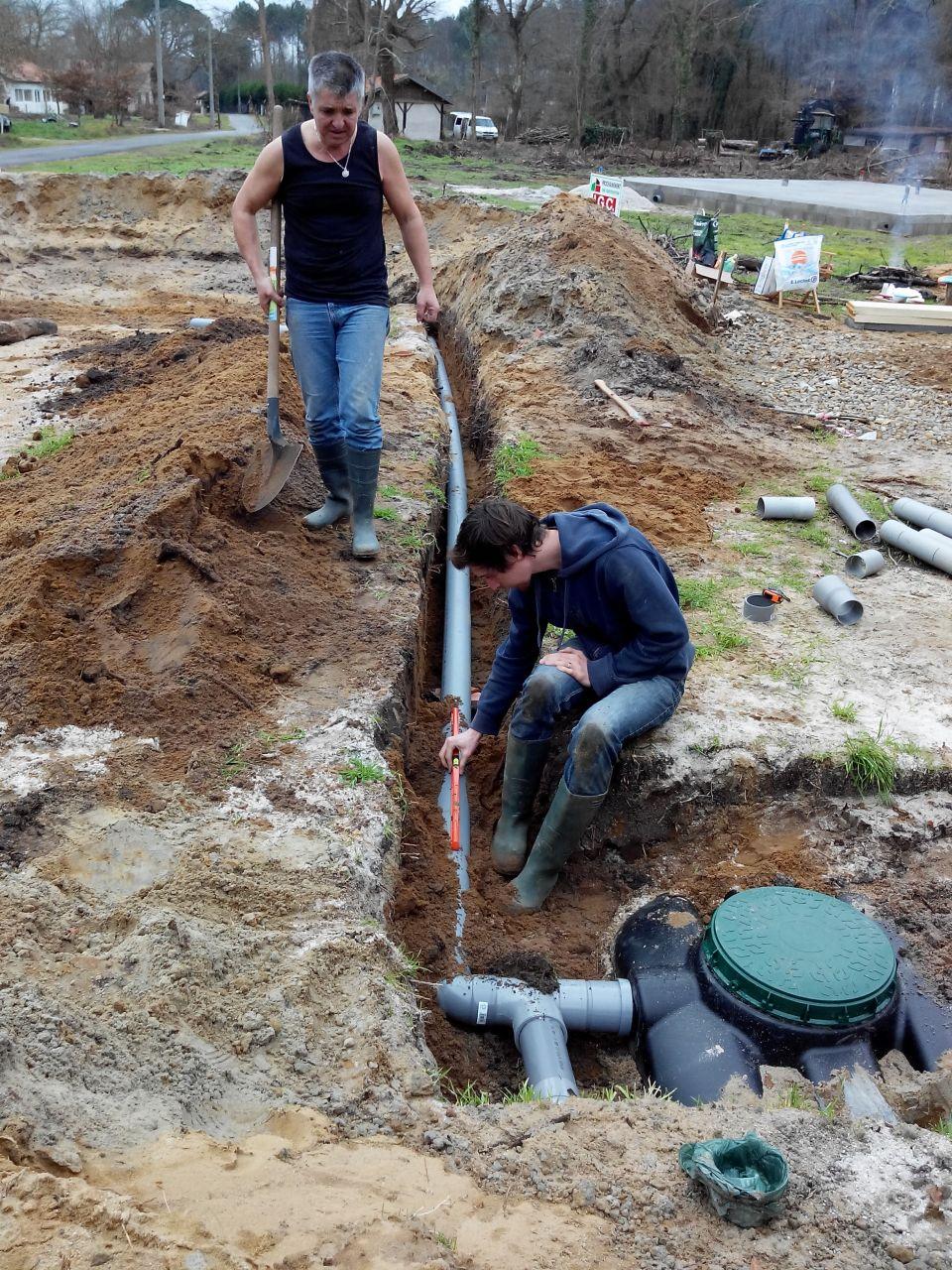 branchement de la fosse septique au filtre à sable