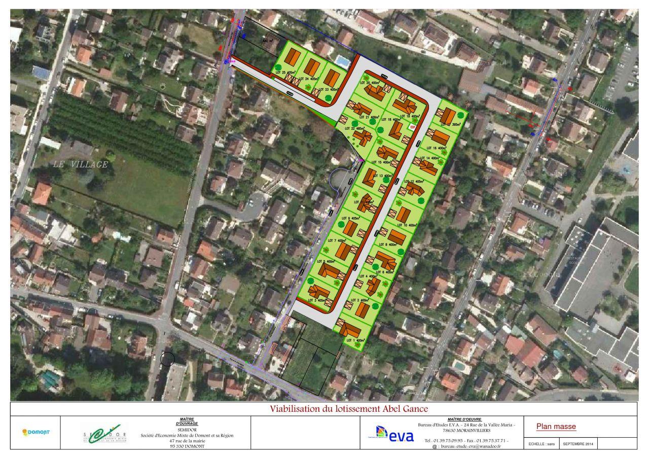 Plan de masse du lotissement du Clos des Pivoines &agrave; Domont. <br /> La num&eacute;rotation n'est pas s&ucirc;re.