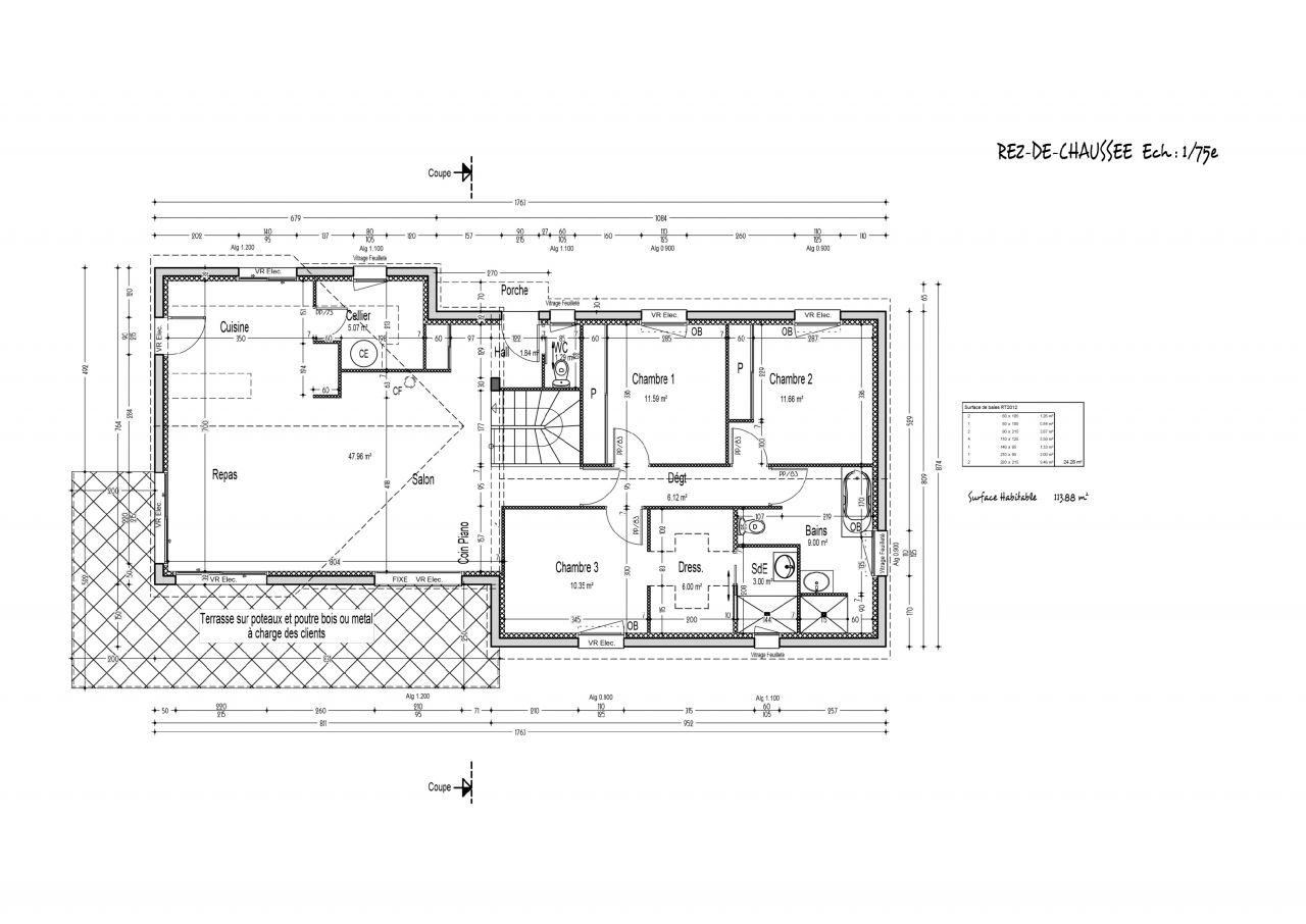 Maison rt 2012 terrain en pente puy de dome for Plan maison sur terrain