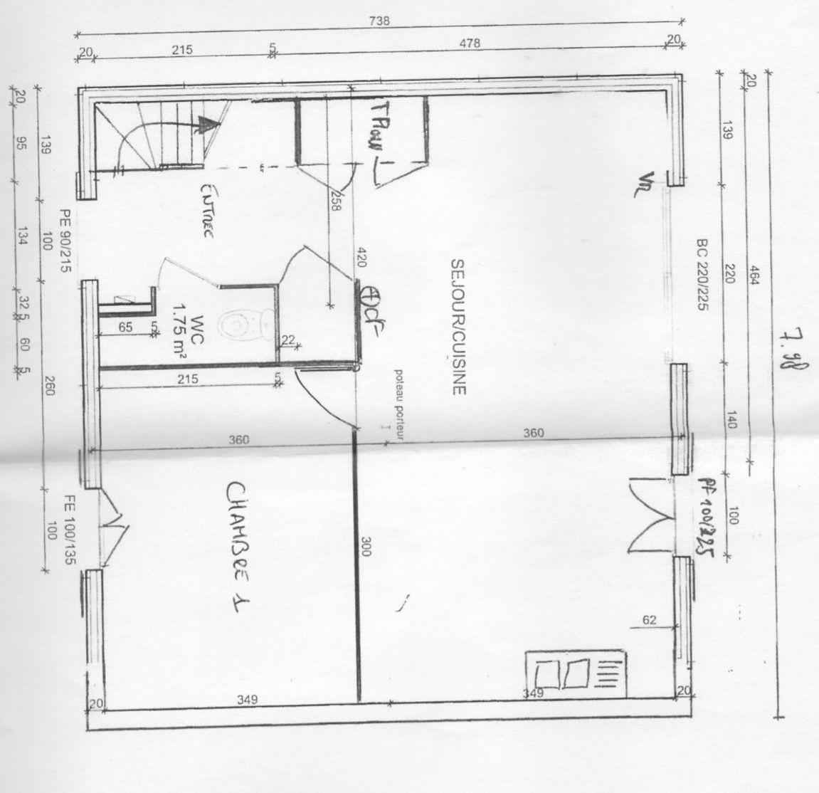 photo plan modifi cuisine ouverte sur s jour et changement de place de escalier plan de maison. Black Bedroom Furniture Sets. Home Design Ideas