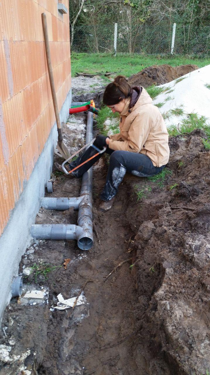 correction du circuit des eaux usés pour avoir une meilleur pente