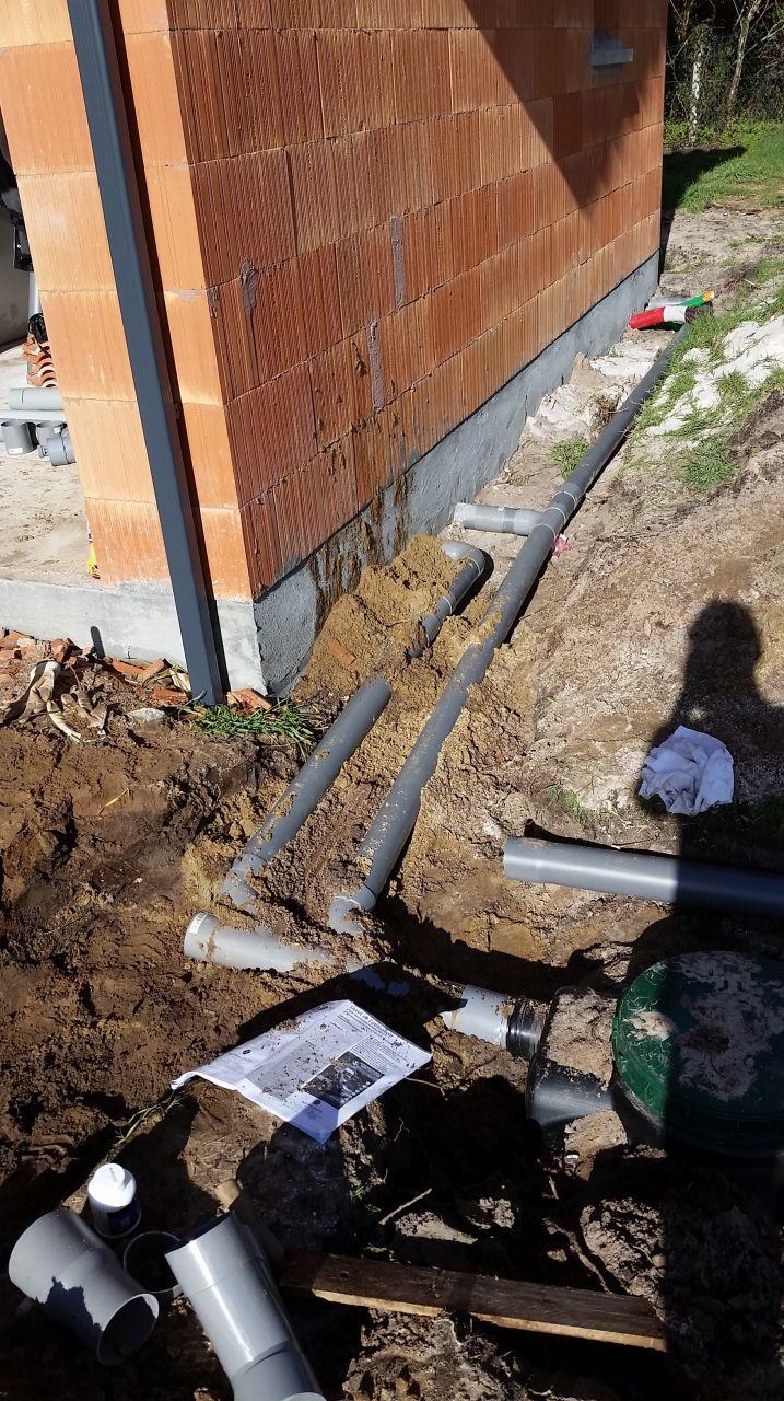 raccordement de la maison à la fosse septique