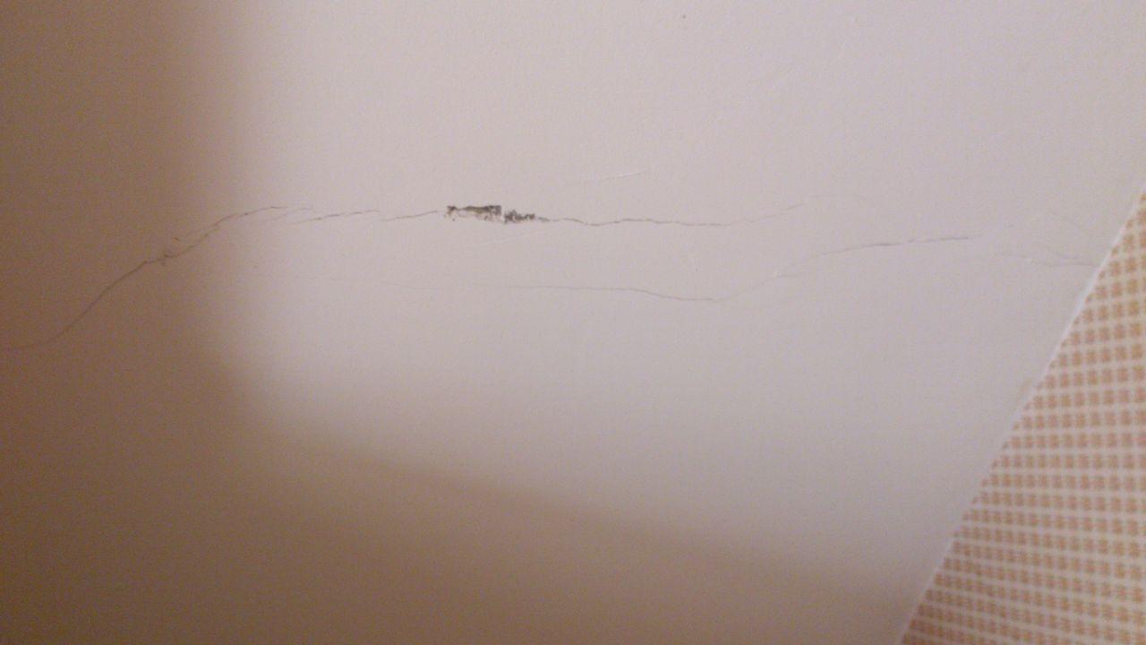 Fissure VUE RDC on voit le plâtre qui se fissure