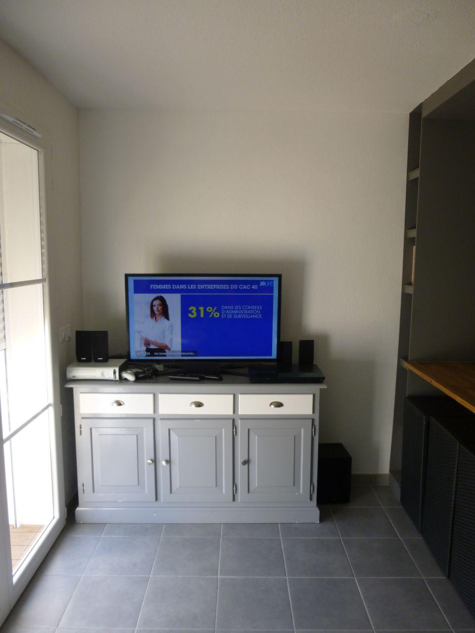 je sèche pour le coin TV, pas d'idée pour le moment sachant qu'a droite c'est la cuisine. <br /> Je pensais à une armature placo pour suspendre et passer les cables avec halo led et cacher les équipements (lecteurs etc)