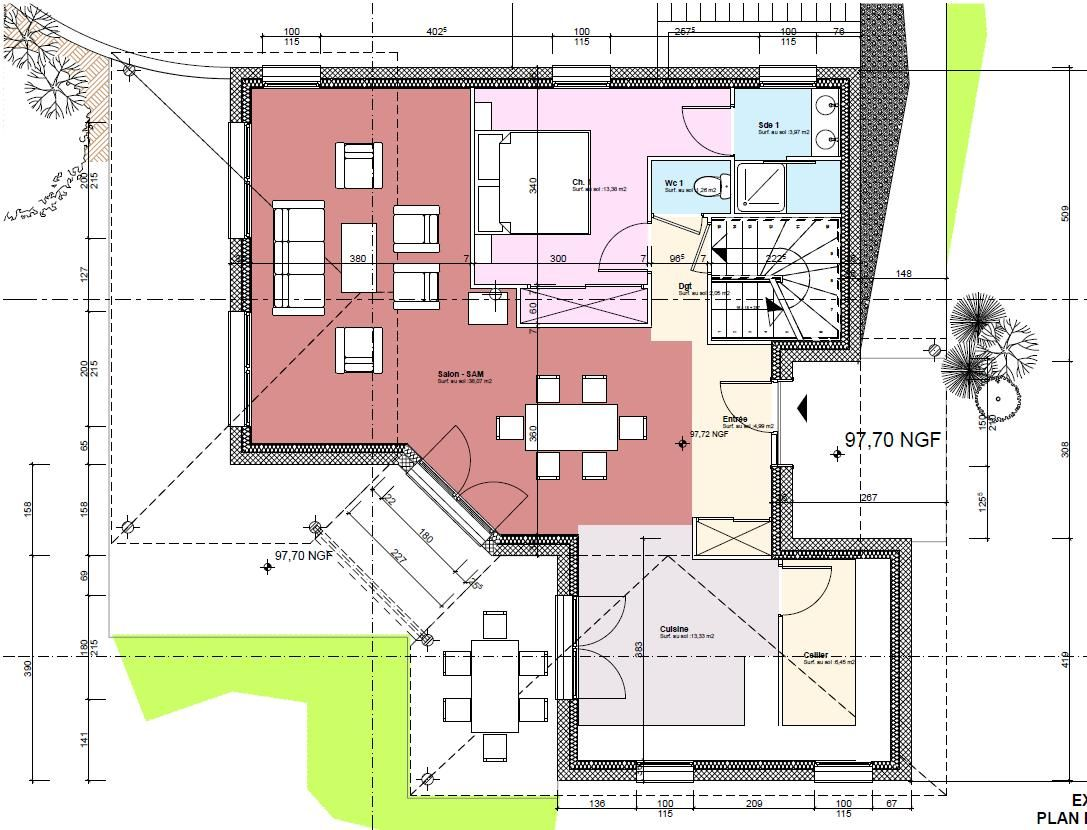 plan maison avec tour
