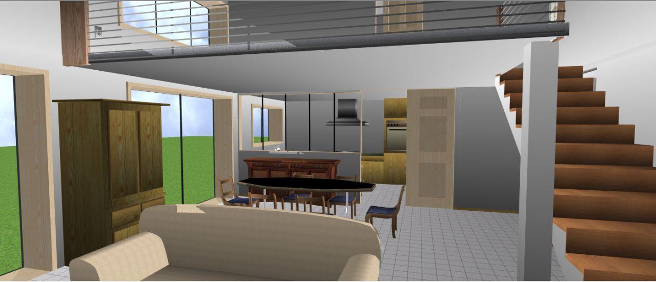 vue réalisée par logiciel(architecte 3D), permet de visualiser le salon cuisine et mezzanine
