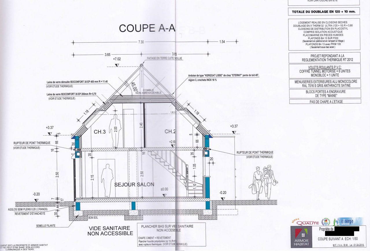 Avanc e travaux plans d 39 ex cution 16 messages for Plan de coupe de maison