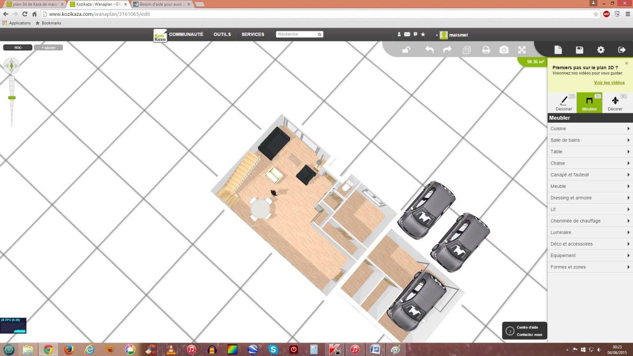 plan 3D RDC avec l'idée de l'archi sur les 2 limites séparatives