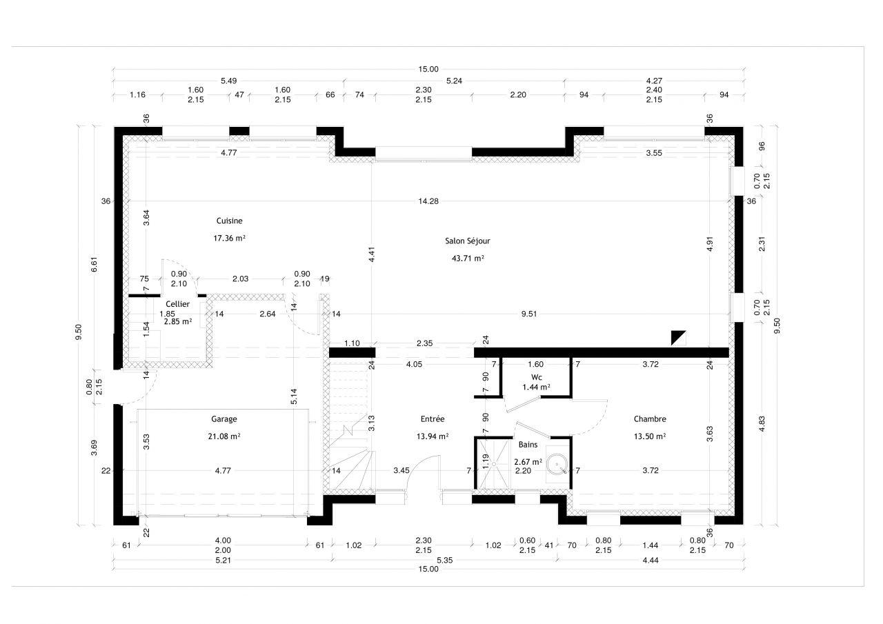 nouveau plan avec modif du hall création du dressing et du couloir et agrandissement du cellier