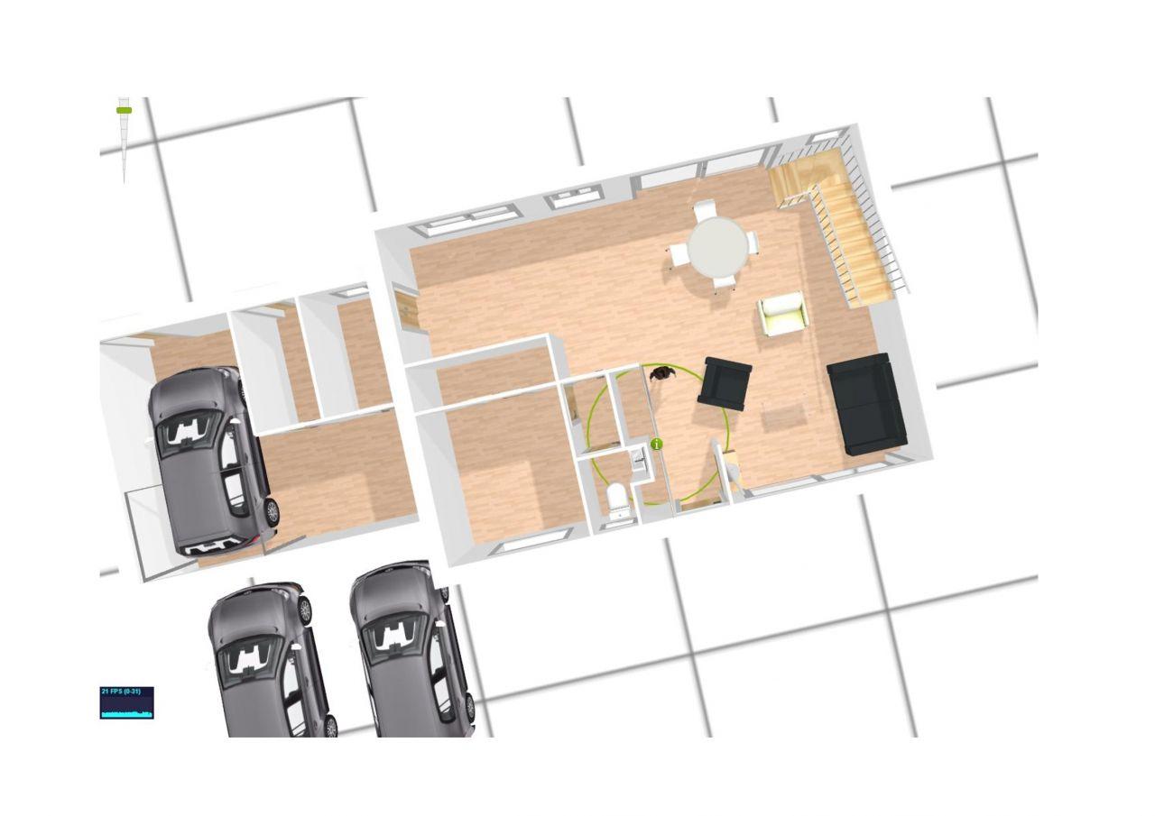 plan 3D 2ème version idée archi implantée sur les 2 limites avec placards dans l'entrée