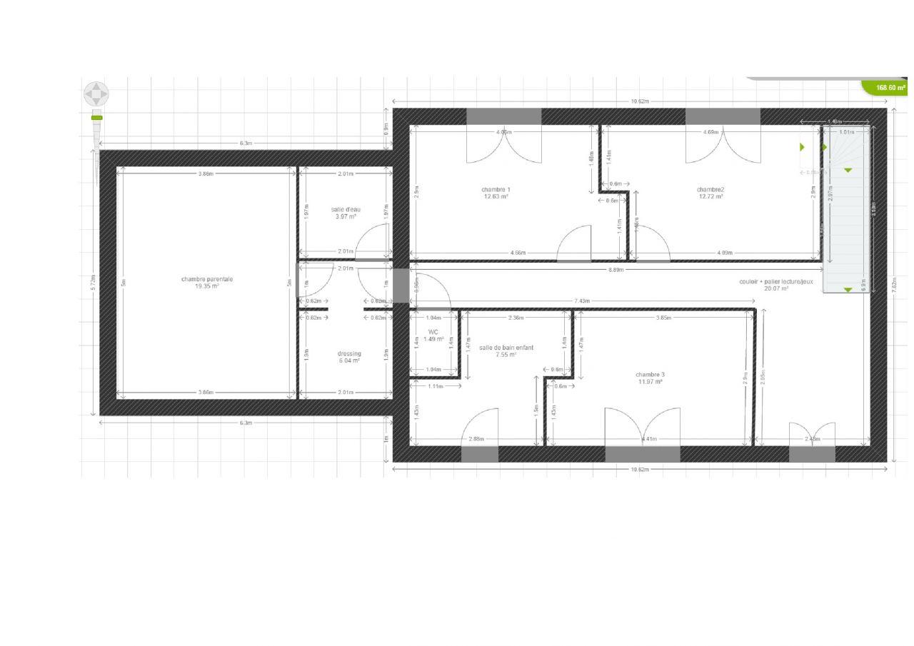 modification étage de la chambre parentale, ouverture salle d'eau et dressing dans le couloir