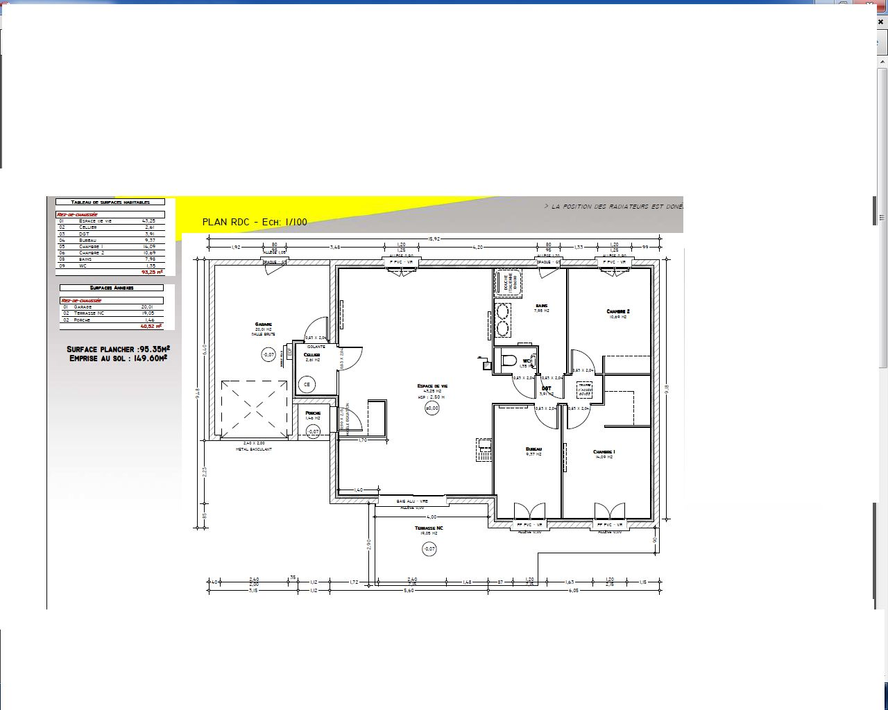 projet maison plain pied 94 m2