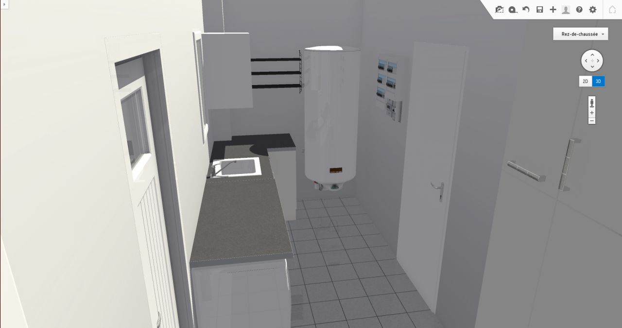 Photo projet d am nagement du cellier avec coin buanderie - Amenagement arriere cuisine ...
