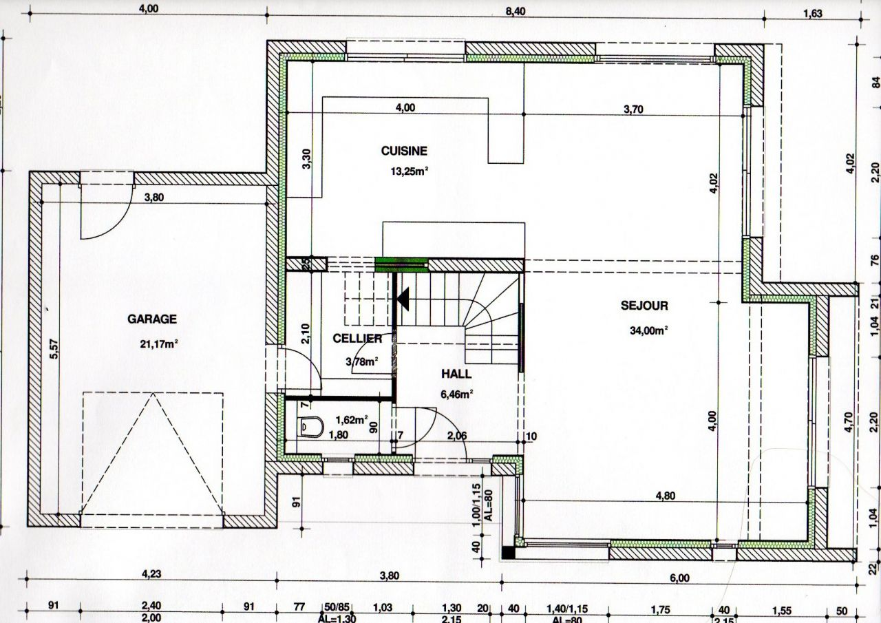 Photo plan rdc avec cellier wc hall d 39 entr e avec for Porte wc dessin
