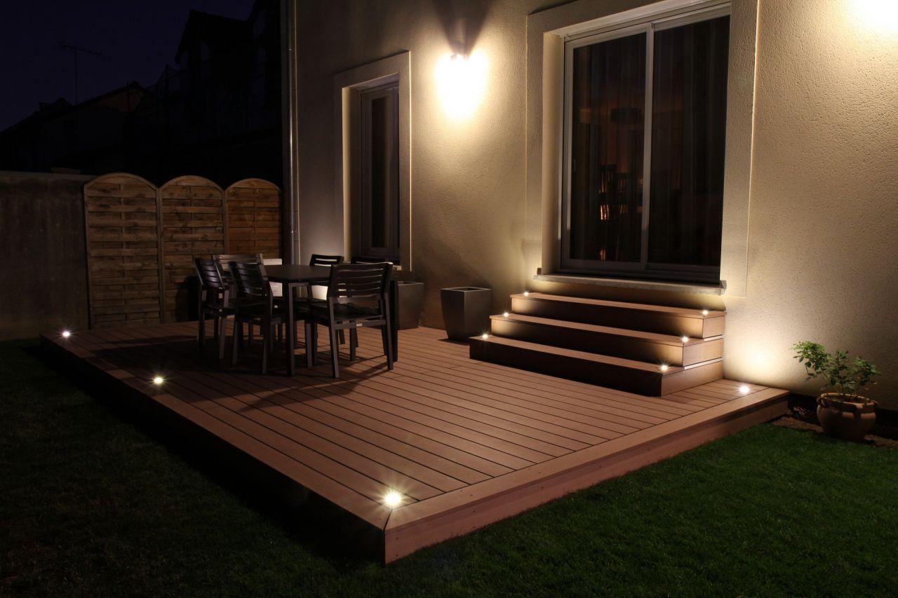 Terrasse terminée, de nuit !