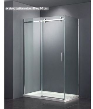 portes coulissantes sur un receveur de douche en 80 x 120, pour occuper la largeur de la petite salle d'eau