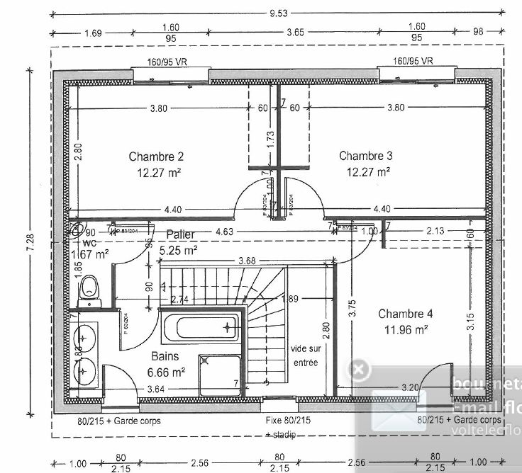PLAN INITIAL DE L ETAGE avant la demande de modification de la mairie