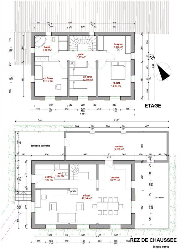 Plan de la maison correspondant au permis de construire déposé