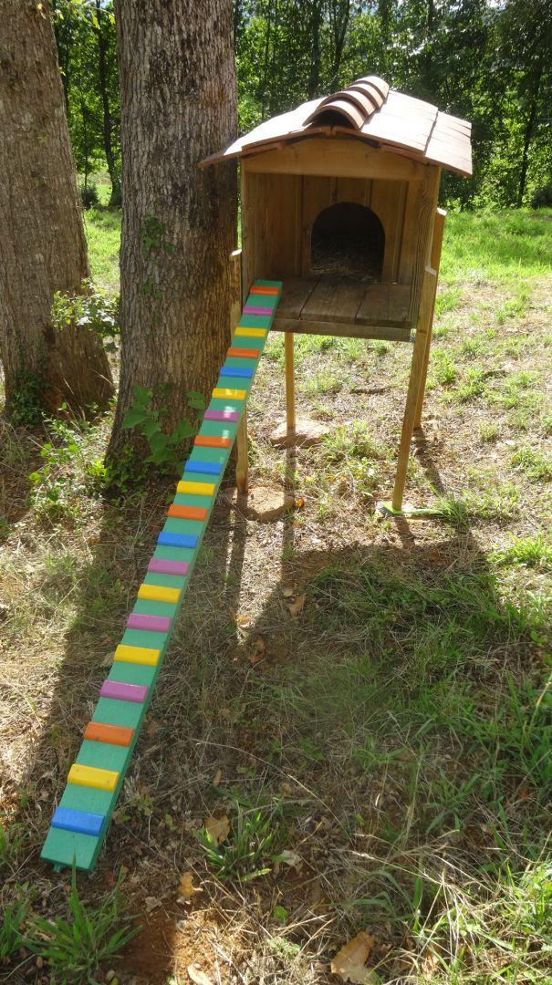 réaménagement de la cabane de jardin des chats : mise sur pilotis et petite rampe avec marches