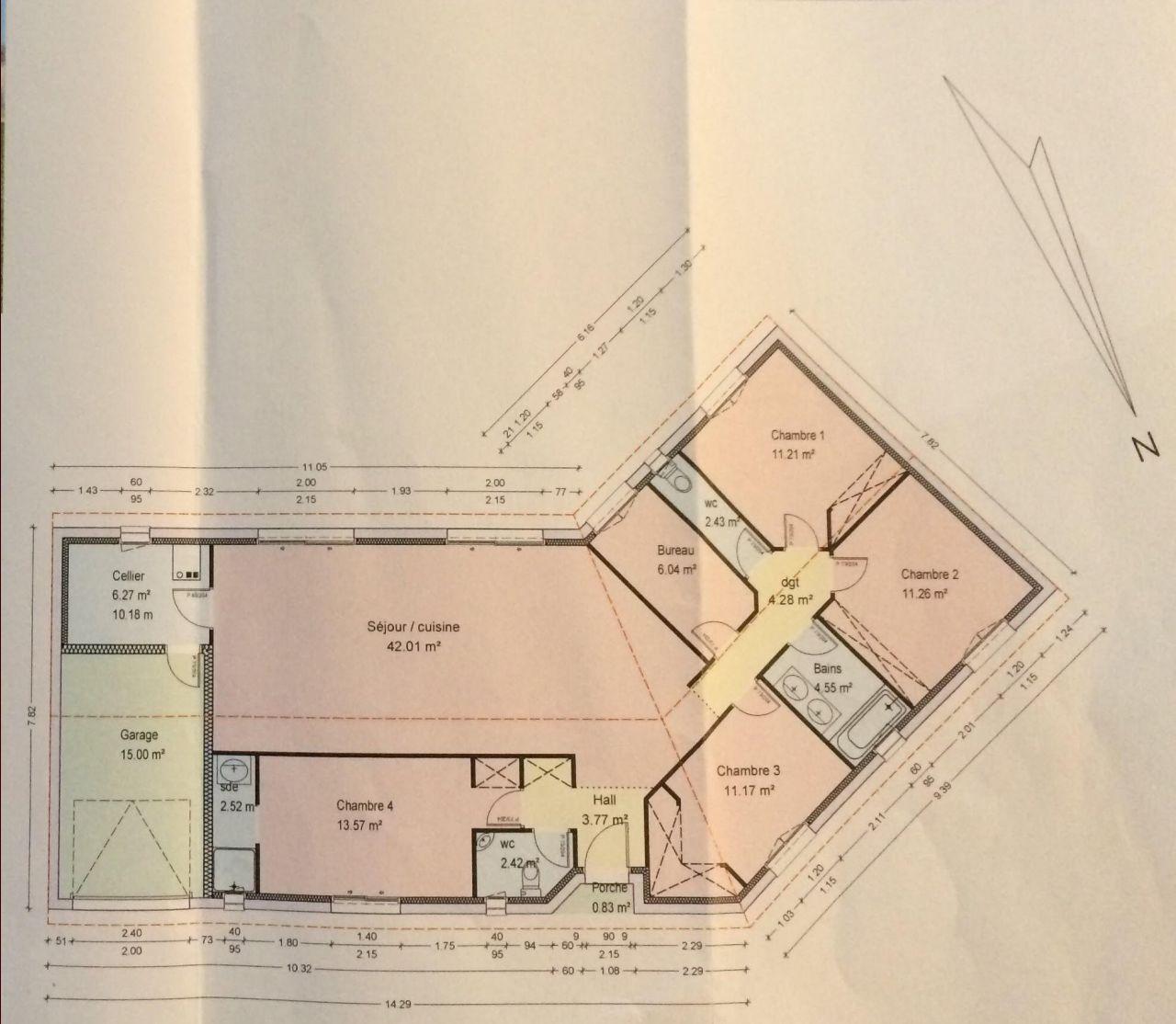 Avis sur plan de maison de plain pied de 120m r solu - Plan maison bioclimatique gratuit ...