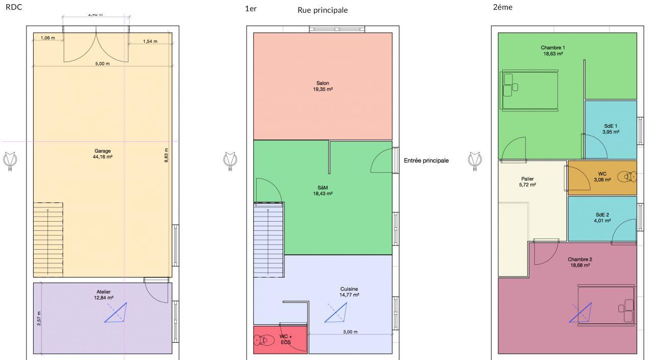 R novation maison de 55m2 au sol sur 3 niveaux 7 messages - Plan maison 2 niveaux ...