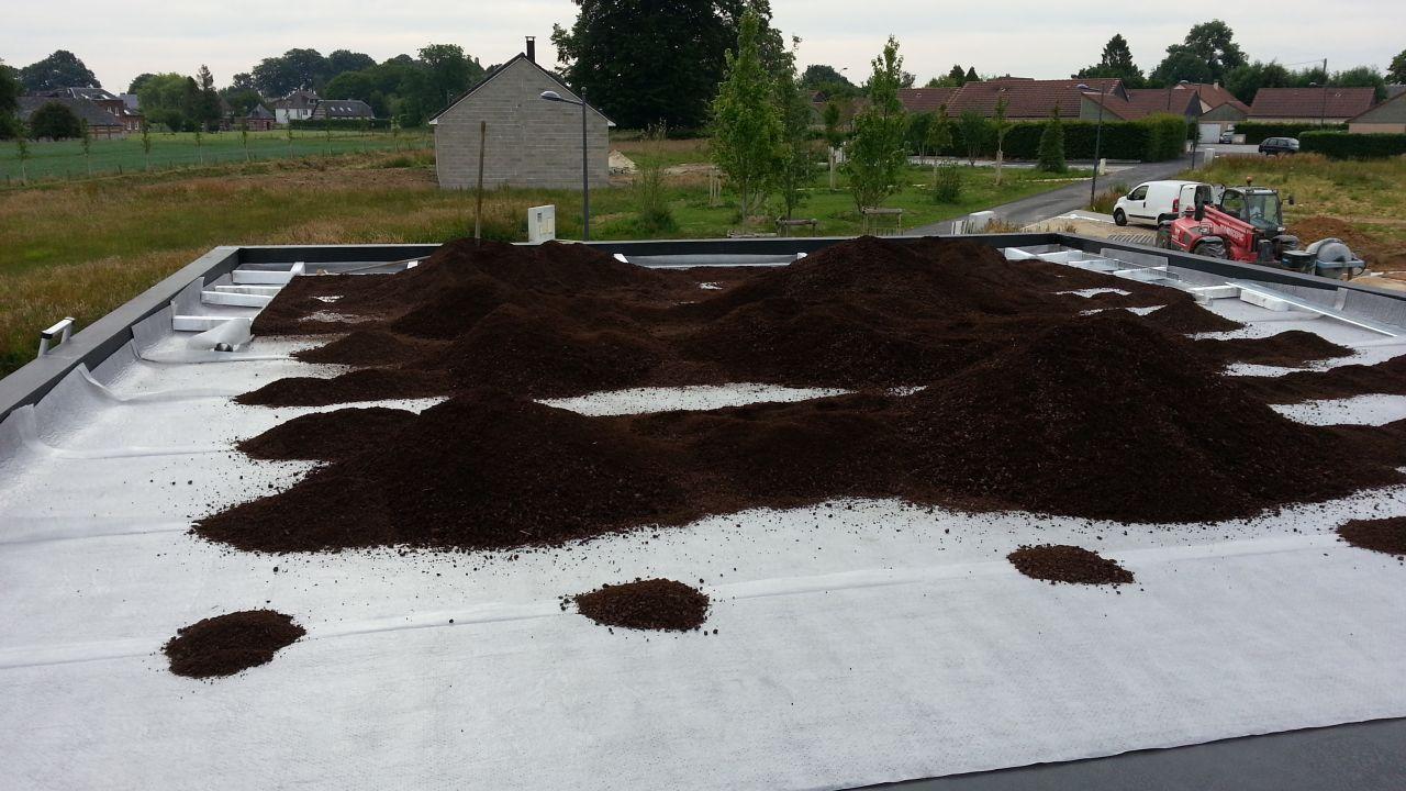 Pose drain, garde grêve et substrat toiture végétalisé
