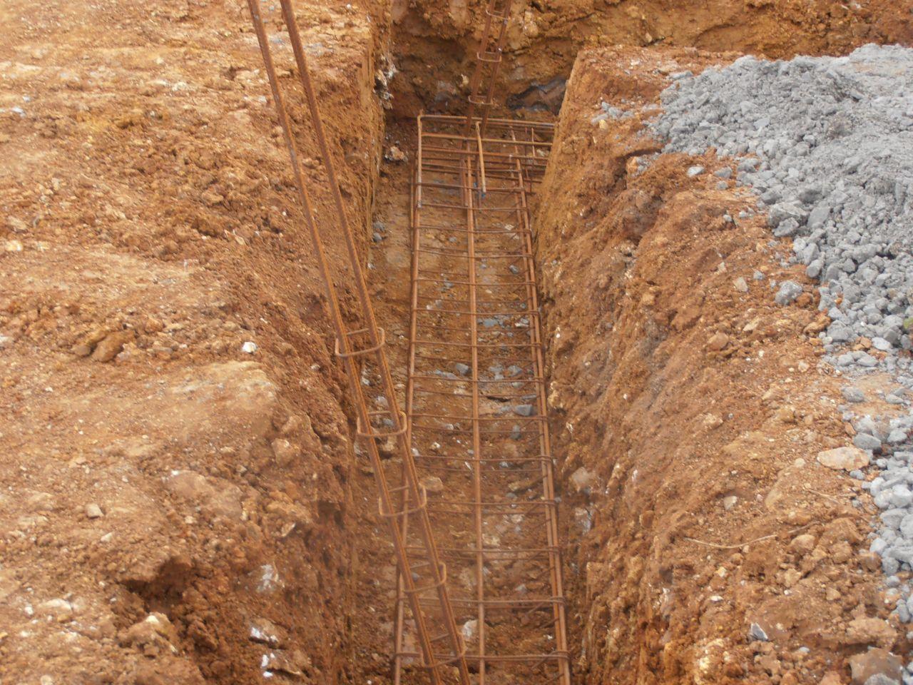 ferraillage en place pour fondations
