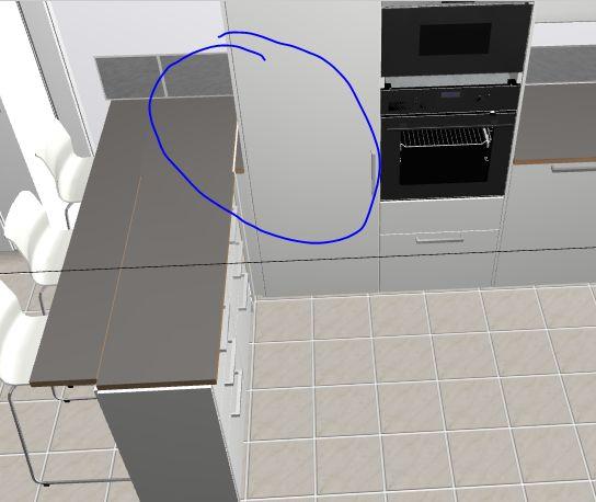 problème pour mettre le plan de travail dans à gauche de mon frigo