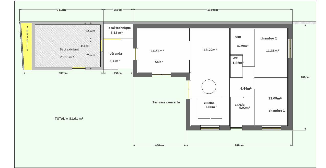 Plan déposé en permis de construire avec sa jonction véranda/ bâti existant