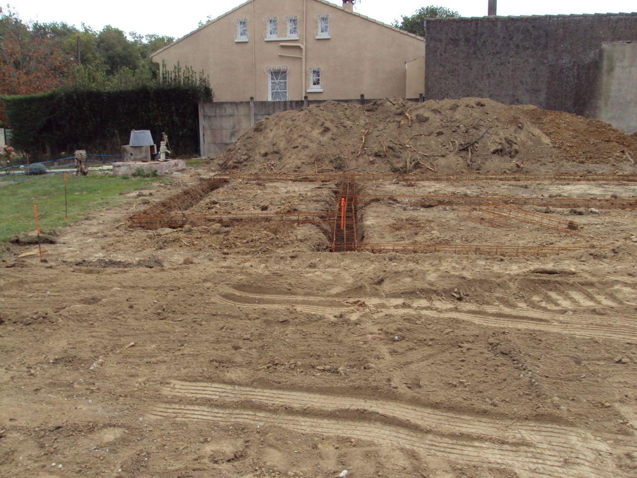 fondations creusés et préparation ferraillage